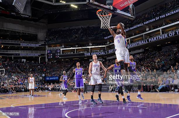 Jerami Grant of the Oklahoma City Thunder dunks against the Sacramento Kings on November 23 2016 at Golden 1 Center in Sacramento California NOTE TO...