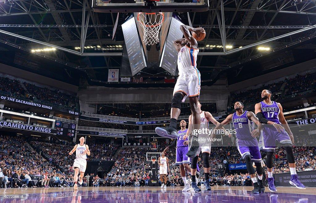 Jerami Grant #9 of the Oklahoma City Thunder dunks against the Sacramento Kings on November 23, 2016 at Golden 1 Center in Sacramento, California.