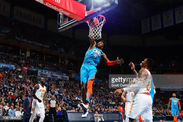 Jerami Grant of the Oklahoma City Thunder dunks the ball against the Atlanta Hawks on November 30 2018 at Chesapeake Energy Arena in Oklahoma City...
