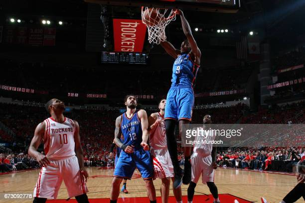 Jerami Grant of the Oklahoma City Thunder dunks the ball during the game against the Houston Rockets in Game Five of the Western Conference...