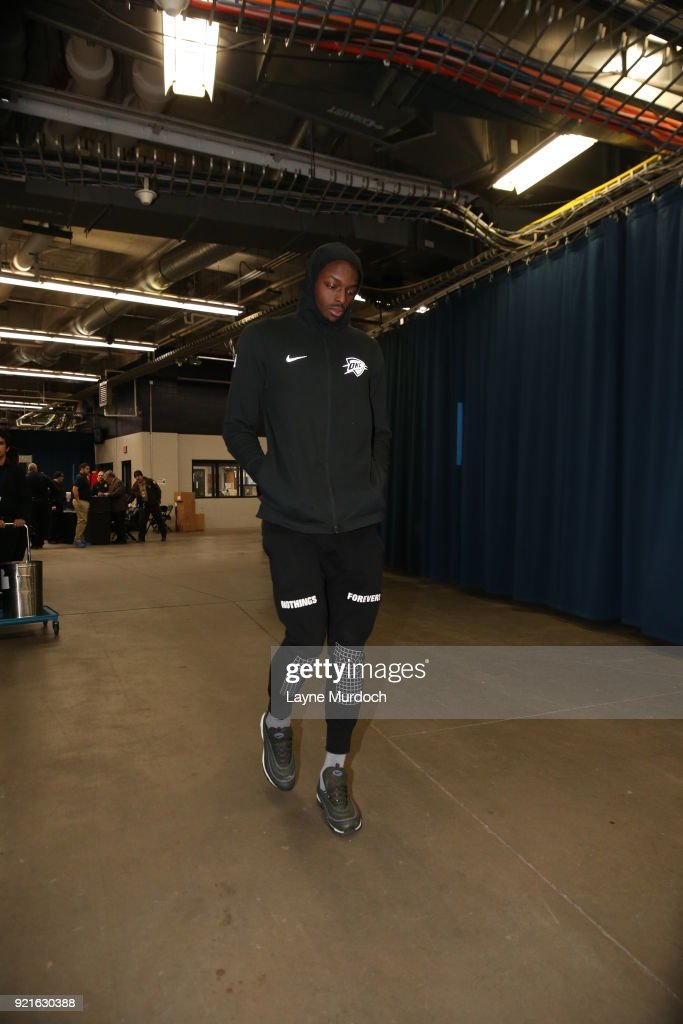 Jerami Grant #9 of the Oklahoma City Thunder enters the arena before the game against the Cleveland Cavaliers on February 13, 2018 at Chesapeake Energy Arena in Oklahoma City, Oklahoma.