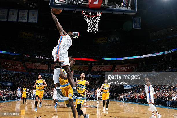 Jerami Grant of the Oklahoma City Thunder goes for the dunk during the game against the Denver Nuggets on January 7 2017 at Chesapeake Energy Arena...
