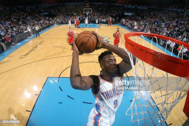 Jerami Grant of the Oklahoma City Thunder goes for the dunk during the game against the Chicago Bulls on February 1 2017 at Chesapeake Energy Arena...