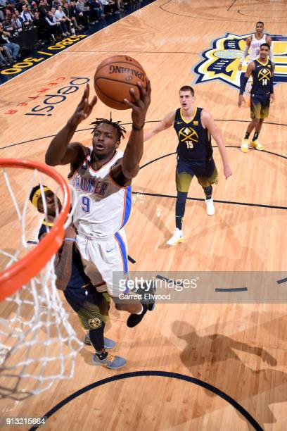 Jerami Grant of the Oklahoma City Thunder goes to the basket against the Denver Nuggets on February 1 2018 at the Pepsi Center in Denver Colorado...
