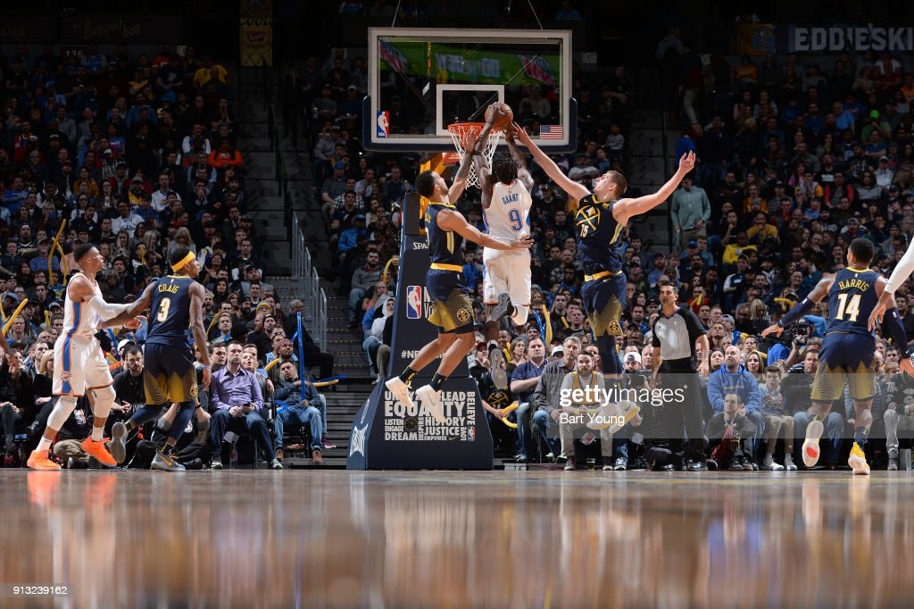 Jerami Grant #9 of the Oklahoma City Thunder goes to the basket against the Denver Nuggets on February 1, 2018 at the Pepsi Center in Denver, Colorado.