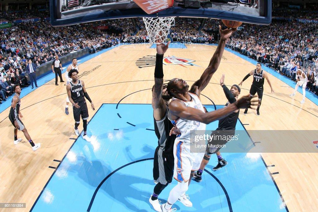 Jerami Grant #9 of the Oklahoma City Thunder goes to the basket against the Sacramento Kings on March 12, 2018 at Chesapeake Energy Arena in Oklahoma City, Oklahoma.