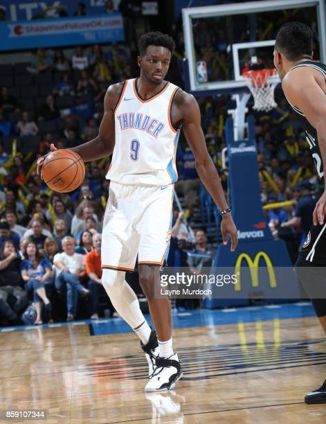 Jerami Grant of the Oklahoma City Thunder handles the ball against the Melbourne United during the preseason game on October 8 2017 at Chesapeake...