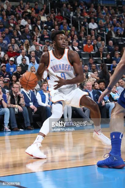 Jerami Grant of the Oklahoma City Thunder handles the ball against the LA Clippers on November 10 2017 at Chesapeake Energy Arena in Oklahoma City...
