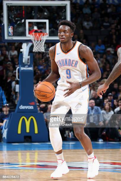 Jerami Grant of the Oklahoma City Thunder handles the ball against the Minnesota Timberwolves on December 1 2017 at Chesapeake Energy Arena in...