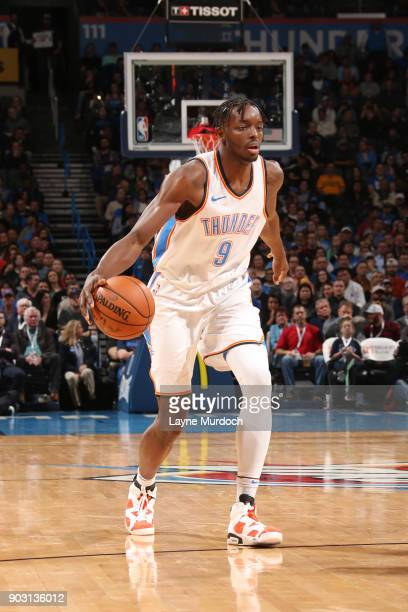 Jerami Grant of the Oklahoma City Thunder handles the ball against the Portland Trail Blazers on January 9 2018 at Chesapeake Energy Arena in...