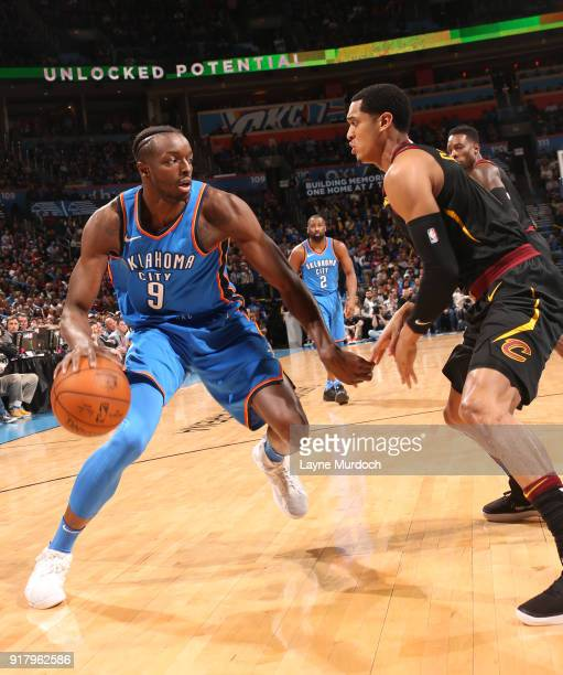 Jerami Grant of the Oklahoma City Thunder handles the ball against the Cleveland Cavaliers on February 13 2018 at Chesapeake Energy Arena in Oklahoma...