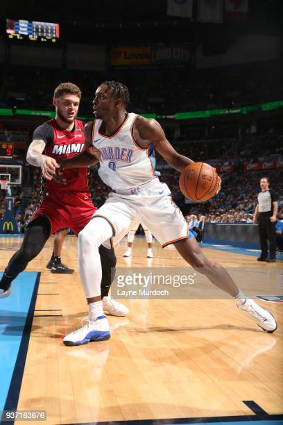 Jerami Grant of the Oklahoma City Thunder handles the ball against the Miami Heat on March 23 2018 at Chesapeake Energy Arena in Oklahoma City...