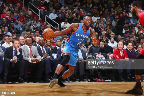 Jerami Grant of the Oklahoma City Thunder handles the ball during a game on Wizards on February 13 2017 at Verizon Center in Washington DC NOTE TO...