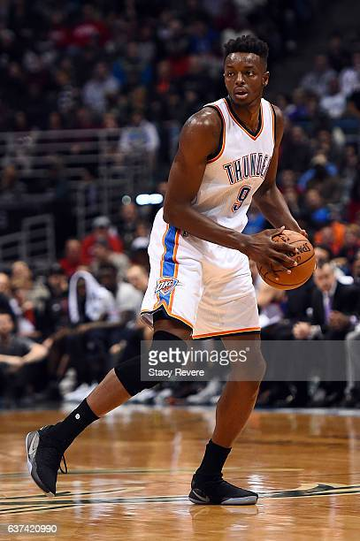 Jerami Grant of the Oklahoma City Thunder handles the ball during a game against the Milwaukee Bucks at the BMO Harris Bradley Center on January 2...