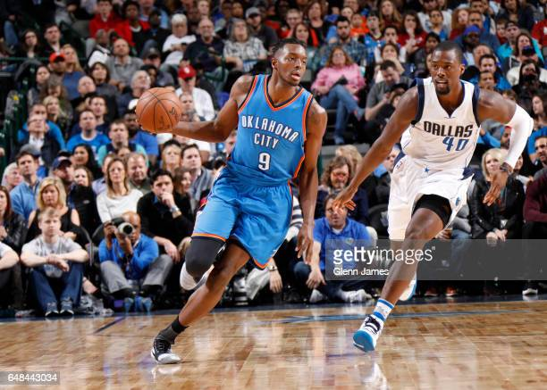 Jerami Grant of the Oklahoma City Thunder handles the ball during a game against the Dallas Mavericks on March 5 2017 at American Airlines Center in...