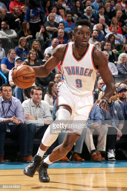 Jerami Grant of the Oklahoma City Thunder handles the ball during the game against the Cleveland Cavaliers on February 9 2017 at Chesapeake Energy...