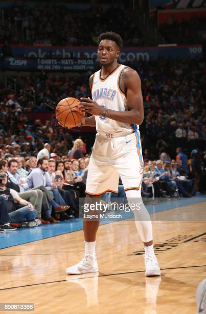 Jerami Grant of the Oklahoma City Thunder handles the ball during the game against the Charlotte Hornets on December 11 2017 at Chesapeake Energy...