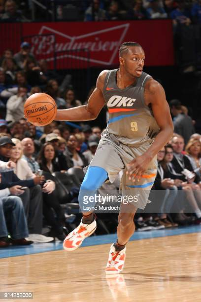 Jerami Grant of the Oklahoma City Thunder handles the ball during the game against the Los Angeles Lakers on February 4 2018 at Chesapeake Energy...