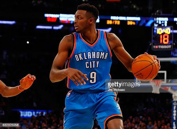 Jerami Grant of the Oklahoma City Thunder in action against the New York Knicks at Madison Square Garden on November 28 2016 in New York City The...