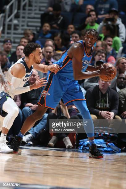 Jerami Grant of the Oklahoma City Thunder jocks for a position during the game against the Minnesota Timberwolves on January 10 2018 at Target Center...