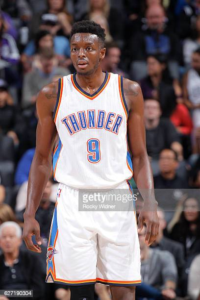 Jerami Grant of the Oklahoma City Thunder looks on during the game against the Sacramento Kings on November 23 2016 at Golden 1 Center in Sacramento...