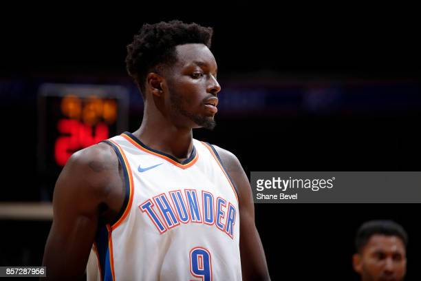 Jerami Grant of the Oklahoma City Thunder looks on during the preseason game against the Houston Rockets on October 3 2017 at the BOK Center in Tulsa...
