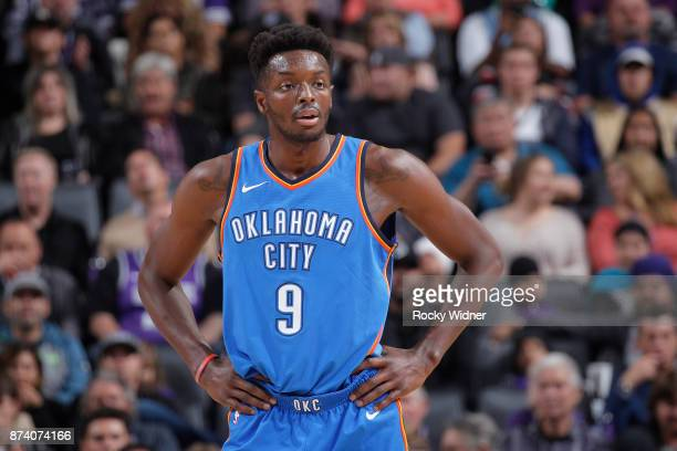 Jerami Grant of the Oklahoma City Thunder looks on during the game against the Sacramento Kings on November 7 2017 at Golden 1 Center in Sacramento...
