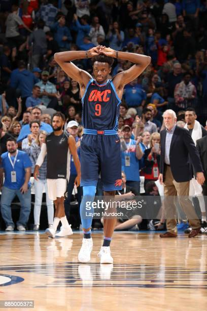 Jerami Grant of the Oklahoma City Thunder looks on during the game against the San Antonio Spurs on December 3 2017 at Chesapeake Energy Arena in...