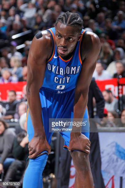 Jerami Grant of the Oklahoma City Thunder looks on during the game against the Sacramento Kings on February 22 2018 at Golden 1 Center in Sacramento...