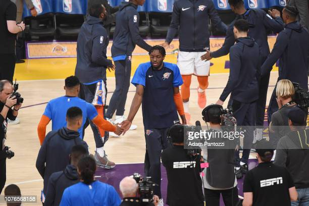 Jerami Grant of the Oklahoma City Thunder makes his entrance before the game against the Los Angeles Lakers on January 2 2019 at STAPLES Center in...