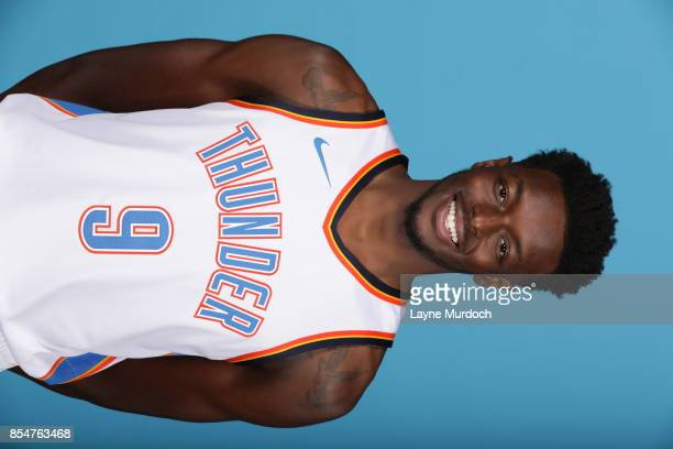 Jerami Grant of the Oklahoma City Thunder poses for a portrait during 2017 NBA Media Day on September 25 2017 at the Chesapeake Energy Arena in...