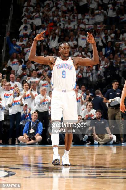 CITY OK APRIL 18 Jerami Grant of the Oklahoma City Thunder reacts against the Utah Jazz in Game Two of Round One of the 2018 NBA Playoffs on April 18...