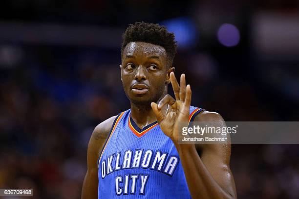 Jerami Grant of the Oklahoma City Thunder reacts during the first half of a game against the New Orleans Pelicans at the Smoothie King Center on...
