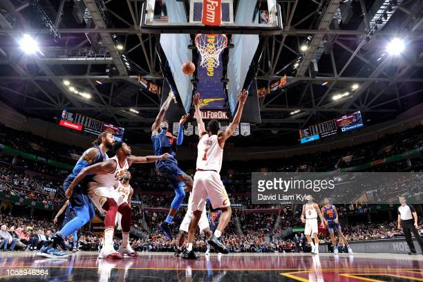 Jerami Grant of the Oklahoma City Thunder shoots the ball against the Cleveland Cavaliers on November 7 2018 at Quicken Loans Arena in Cleveland Ohio...