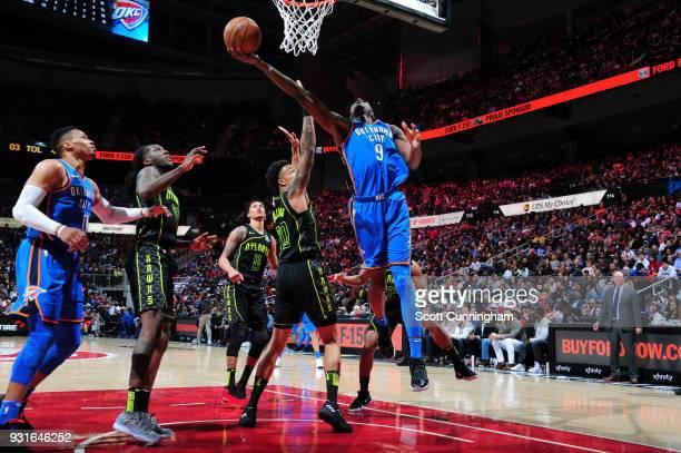 Jerami Grant of the Oklahoma City Thunder shoots the ball against the Atlanta Hawks on March 13 2018 at Philips Arena in Atlanta Georgia NOTE TO USER...