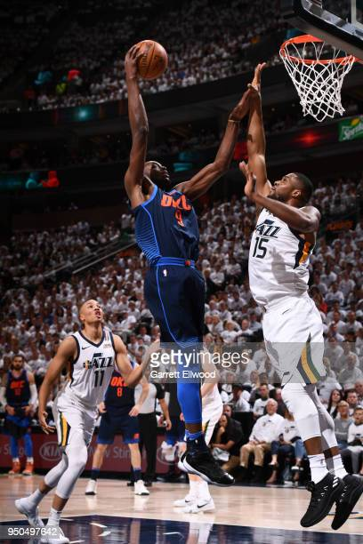 Jerami Grant of the Oklahoma City Thunder shoots the ball against the Utah Jazz in Game Four of Round One of the 2018 NBA Playoffs on April 23 2018...