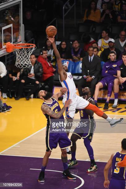 Jerami Grant of the Oklahoma City Thunder shoots the ball during the game against Tyson Chandler of the Los Angeles Lakers on January 2 2019 at...