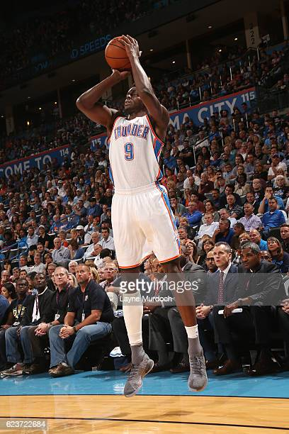Jerami Grant of the Oklahoma City Thunder shoots the ball during the game against the Houston Rockets on November 16 2016 at Chesapeake Energy Arena...