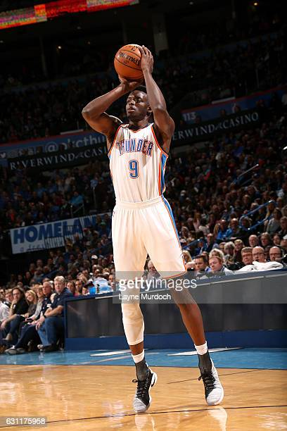 Jerami Grant of the Oklahoma City Thunder shoots the ball during the game against the Denver Nuggets on January 7 2017 at Chesapeake Energy Arena in...