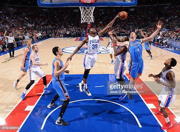 Jerami Grant of the Philadelphia 76ers blocks the shot against the Oklahoma City Thunder at Wells Fargo Center on March 18 2016 in Philadelphia...