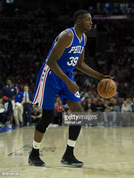 Jerami Grant of the Philadelphia 76ers controls the ball against the Oklahoma City Thunder at Wells Fargo Center on October 26 2016 in Philadelphia...
