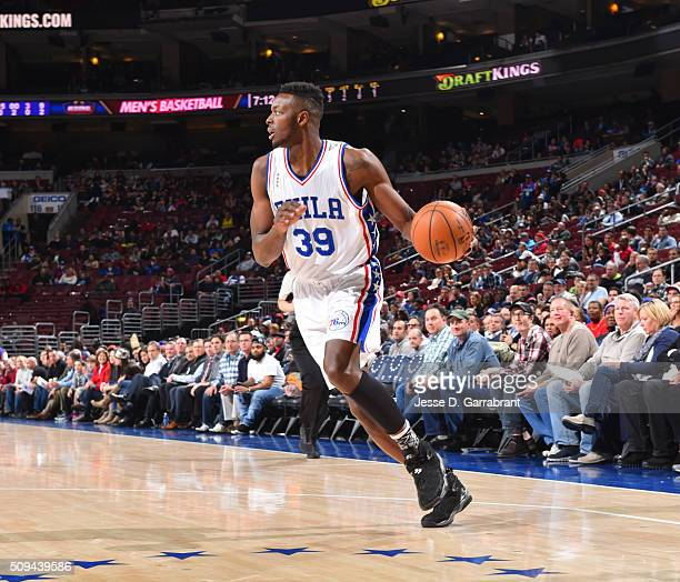 Jerami Grant of the Philadelphia 76ers drives to the basket against the Sacramento Kings at Wells Fargo Center on February 10 2016 in Philadelphia...