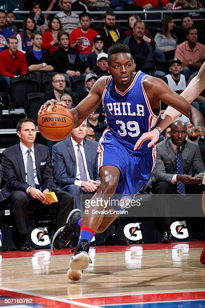 Jerami Grant of the Philadelphia 76ers drives to the basket during the game against the Detroit Pistons on January 27 2016 at The Palace of Auburn...