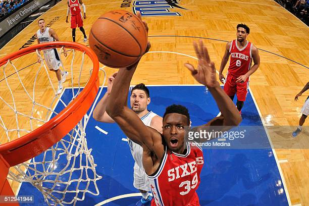 Jerami Grant of the Philadelphia 76ers dunks against the Orlando Magic on February 28 2016 at the Amway Center in Orlando Florida NOTE TO USER User...
