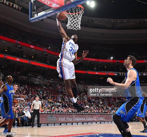 Jerami Grant of the Philadelphia 76ers dunks the ball against the Orlando Magic at Wells Fargo Center on February 23 2016 in Philadelphia...