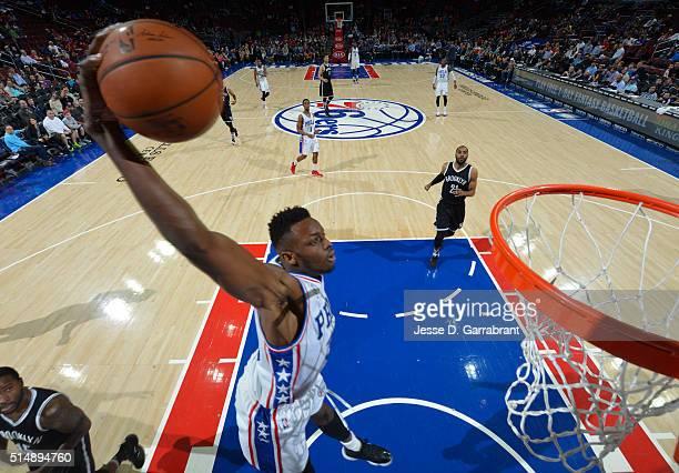 Jerami Grant of the Philadelphia 76ers dunks the ball against the Brooklyn Nets at Wells Fargo Center on March 11 2016 in Philadelphia Pennsylvania...