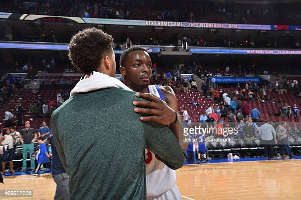 Jerami Grant of the Philadelphia 76ers gives Michael CarterWilliams former teammate a hug after the game against the Milwaukee Bucks at Wells Fargo...