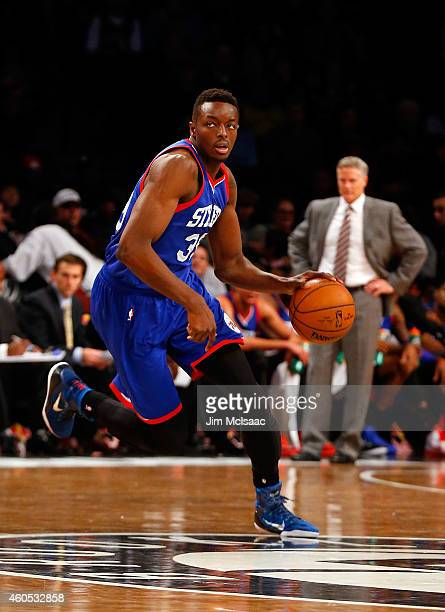 Jerami Grant of the Philadelphia 76ers in action against the Brooklyn Nets at Barclays Center on December 12 2014 in the Brooklyn borough of New York...