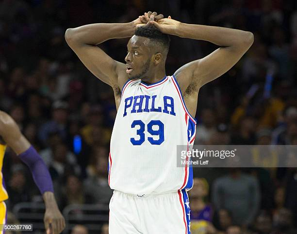 Jerami Grant of the Philadelphia 76ers in the game against the Los Angeles Lakers on December 1 2015 at the Wells Fargo Center in Philadelphia...