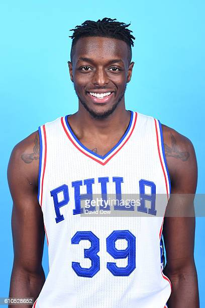 Jerami Grant of the Philadelphia 76ers poses for a head shot during media day at the Philadelphia 76ers Training Complex on September 262016 in...